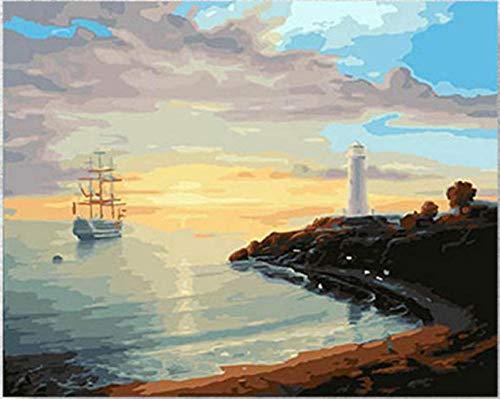 GVNEO Malen Nach Zahlen Kunst Meer Leuchtturm Küste Landschaft Sonnenuntergang Nacht(40X50Cm Rahmenlos) - Küsten-leuchttürme