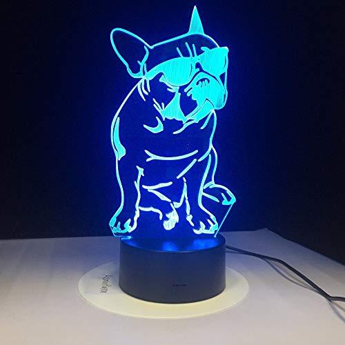 Xiujie 3D Nachtlicht Mit Sonnenbrille Hund 3D Lampe 7 Farbe Led Nacht Lampen Für Kinder Touch Led Usb Tisch Schlafen Nachtlicht
