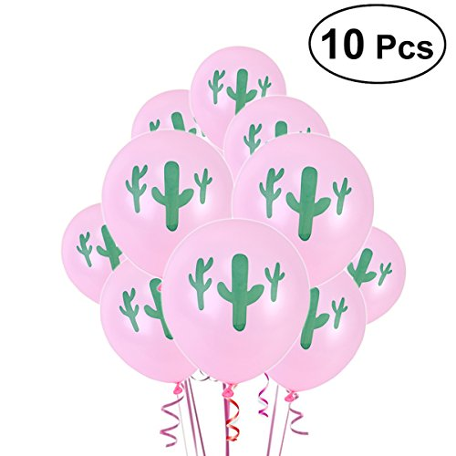TENDYCOCO Hawaiian Party Balloons Decoration Cactus Latex Balloons Summer Luau Party Favors Supplies for Birthday Wedding Decoration 10PCS(Pink)