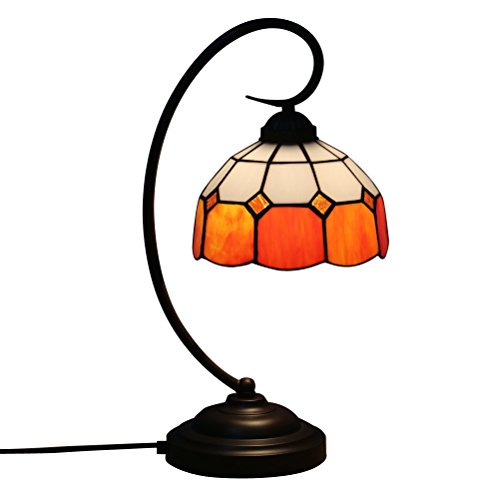 Fabakira Tiffany Style Lampe De Bar et Lampe De Table E27 Vitrail Salon Chambre Chevet Bar Jaune Art Lumière 17*20*47cm