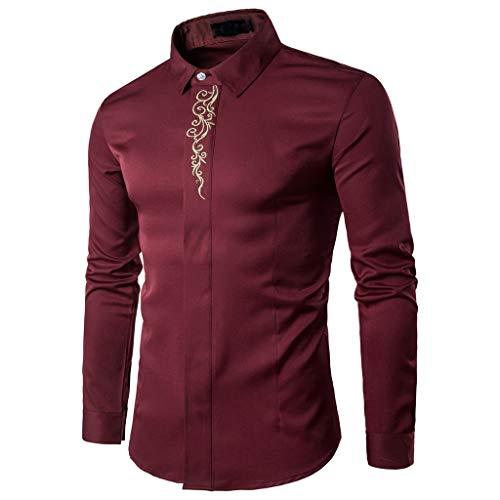 DNOQN Herren Freizeit Herbst Poloshirt T Shirt Lang Beiläufige Dünne Hemd Revers Druck Lange Hülsen Knopf Hemd Oberseiten Bluse Rot L