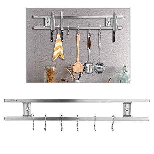 OUNONA Barre Magnétique Porte Cuteau Magnétique Barre Aimantée Pour Outils Cuisine Rail Magnétique Avec 6 Crochets Amovibles