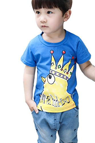 Minetom Kinder baby boys T-Shirt Jungen Ninjago Tee tops Kaiserkrone kleine gelbe Huhn Mode und reizendes Shirt sommer Rundhals pullover Blau 120 (Trikot Baseball Italien)