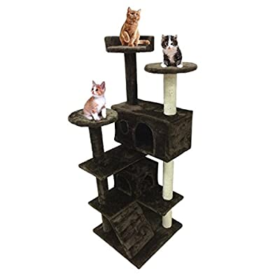 Homgrace Cat Scratch Post with Platform Play Towers Tree Toy Lounger Sleeping Bed House Activity Centre for Indoor Cats