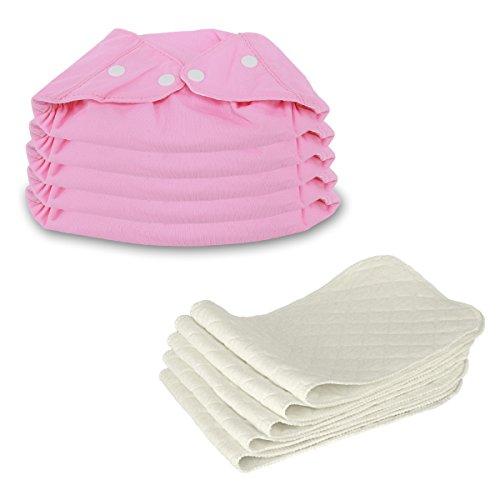5 Stück Wiederverwendbare Waschbare Verstellbar Babywindeln Baby Windelhose Baby-Tuch-Windel Weicher Stoff, Größe Verstellbar (Rosa)