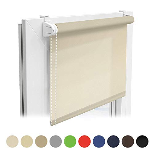 Floordirekt Sichtschutzrollo | lichtdurchlässiges Rollo als Sichtschutz am Fenster | Klemmfix ohne Bohren | (Beige, 120x150 cm)
