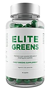 Elite Super Greens Tablets Including Superfoods Chlorella, Spirulina and Wheatgrass - Also Includes Broccoli, Spinach & Ginseng - Promotes Energy, Immune Function, General Health & Well-Being - Vegetarian Capsules