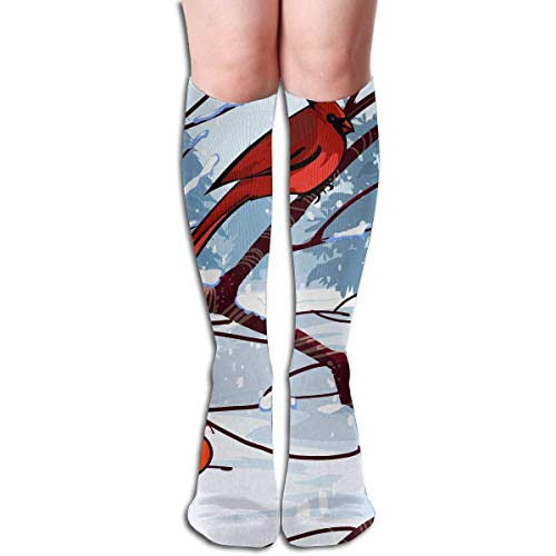 Herren Kostüm Cardinal - CVDFVFGB Compression Socks Cardinal Birds Tree High Boots Stockings Long Hose for Yoga Walking for Women Man