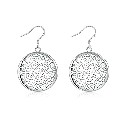 Gnzoe Jewelry 18K Silver Plated Drop Earrings Fishhook Round Hollow Alphabets Cluster Eco Friendly