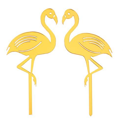 YeahiBaby 2 stücke Kuchendeckel mit Flamingo Form Decor Acryl Cupcake Topper Picks für Hochzeit Geburtstag Party Kuchen Dekoration Lieferungen