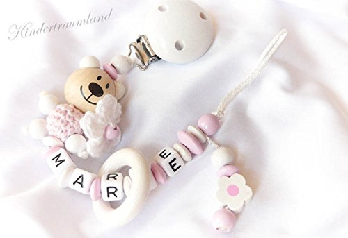 Preisvergleich Produktbild Schnullerkette Teddy mit Namen - Mädchen - (Weiß, Blümchen)