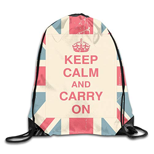 EELKKO Drawstring Backpack Gym Bags Storage Backpack, Keep Calm and Carry On Text Against The British Flag with Aged Look,Deluxe Bundle Backpack Outdoor Sports Portable Daypack -