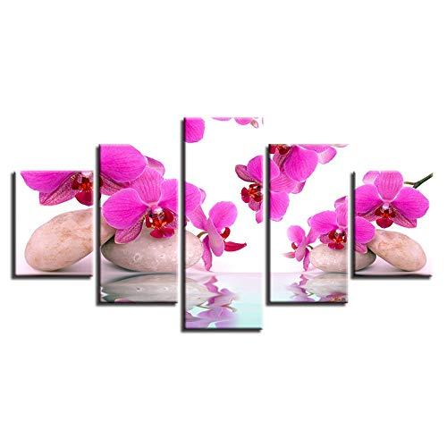 HXZFF Cuadro Lienzo 150 x 80 cm   Flor Rosa Zen