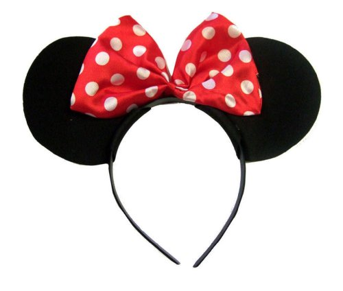 Black With Red Bow & White Polka Dot Minnie Mouse Disney Fancy Dress Ears Head Band