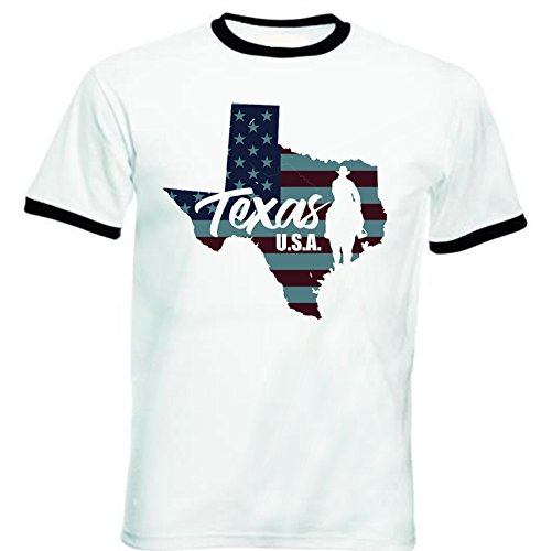 teesquare1st Men's Texas USA Black Ringer T-Shirt Size XXXLarge -