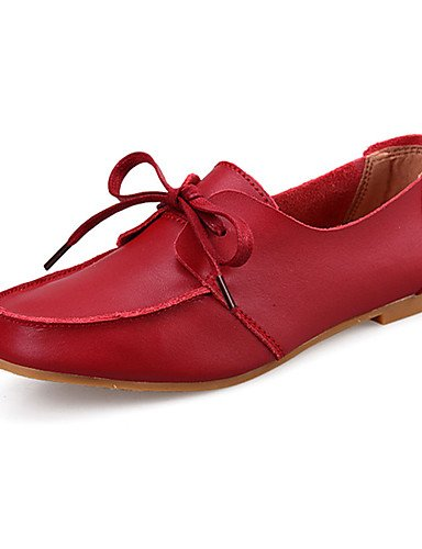 ZQ Scarpe Donna-Stringate-Casual-Comoda-Piatto-Pelle-Nero / Giallo / Rosso , yellow-us8 / eu39 / uk6 / cn39 , yellow-us8 / eu39 / uk6 / cn39 black-us6 / eu36 / uk4 / cn36