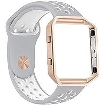 Zyra Fitbit Blaze Sangle avec cadre, bracelet souple en silicone avec trous d'aération et cadre en acier inoxydable Noir ou Or rose pour montre Sport Fitbit Blaze Fitness Smart
