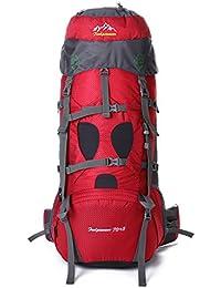 Fars 75L al aire libre Camping senderismo mochila profesional escalada bolsas montañismo bolsa vlsivery grande capacidad Viajes Deportes Mochila, rojo