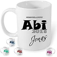 ABI 2018 HM~AA311~ Tasse Kaffeebecher Kaffee mit Namen bedruckt Namentasse personalisiert mit Wunschnamen .Geschenk zum Abitur