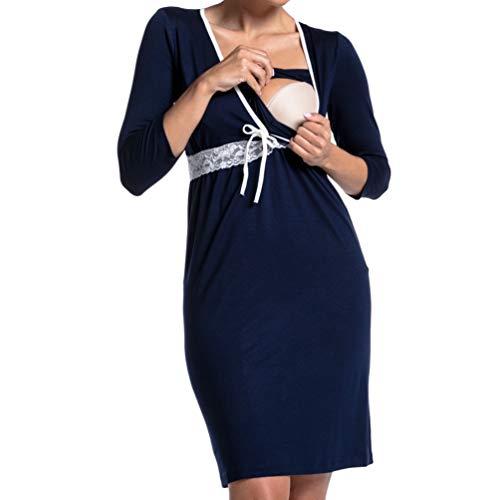 Kuncg Pyjamas d'allaitement Couleur Unie Vêtements de Nuit avec Dentelle Manche Longue Grossesse Robe Chemises de Nuit Maternité (Bleu,CN S)