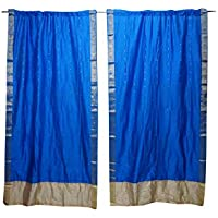 Mogul Interior 2 Indian Sari Curtain Drape Blue Window Treatment Door Panel Decor 84x44
