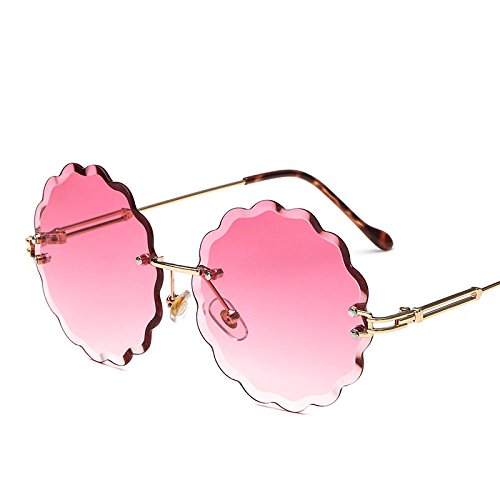 PDYCD Sunglasses Blossom Frameless Cutout Personality Decorative Fashion Sunglasses Ocean Glasses Personality Sunshade Girl Male Goggles Colored Glasses