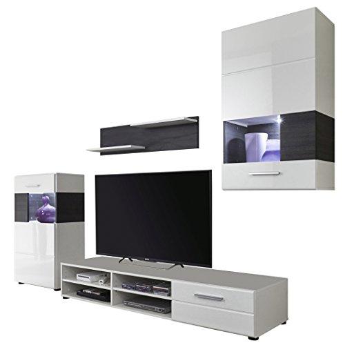 trendteam Wohnwand Weiß mit Pinie braun Nachbildung, 232 cm