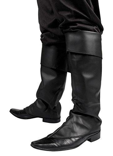 Gamaschen schwarz Kunstleder für Erwachsene Kostüm Zubehör Pirat Musketier Karneval (Ein Pirat Kostüme)