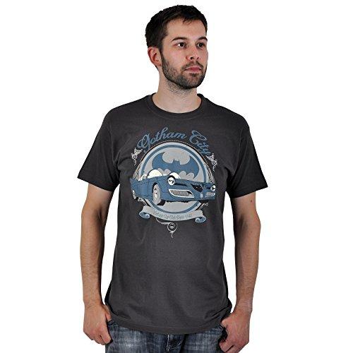 Batman - camiseta del batmóvil retro - vintage - estampado frontal - cuello redondo - algodón - gris - XL