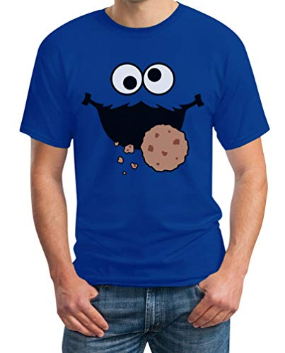 Karneval & Fasching Keks-Monster Krümel Kostüm Herren T-Shirt Medium Blau