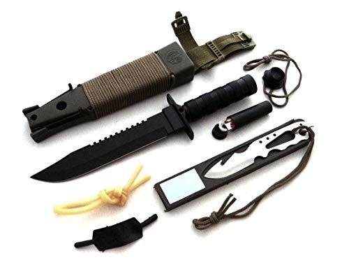 KOSxBO® Kit de survie XXL avec étui en paracorde - Première aide - Couteaux supplémentaires, outils - Bois d'épilation - Boussole - Essoreuse en pierre pour le camping, la promenade, le chien