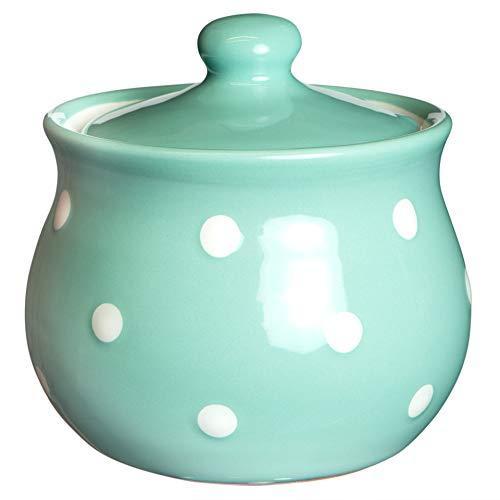 City to Cottage | Sucrier Pot de sucre | bleu turquoise à pois blancs en céramique avec couvercle fait et peint à la main