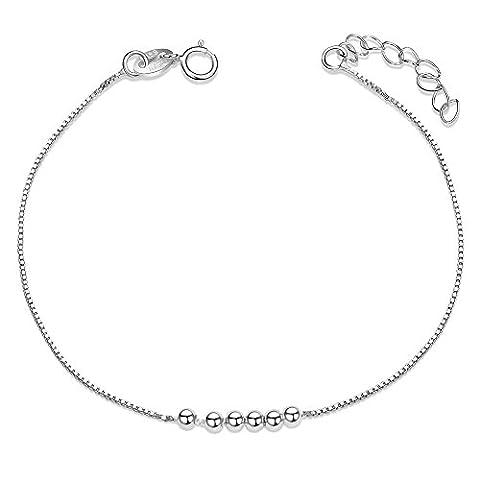 SWEETIEE - Bracelet femme en Pur Argent 925 Sterling avec Petits Perles simples, Argent,