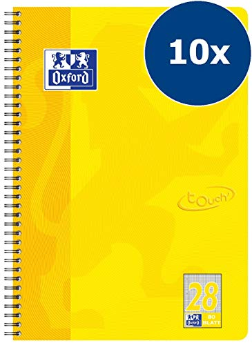 OXFORD 400086495 Collegeblock Touch 10er Pack im Format A4 80 Blatt kariert mit Doppelrand sonnengelb Schreibblock Notizblock Briefblock Schulblock