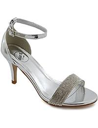 63ae1973a621d ESSEX GLAM Donna Tacco Basso Stiletto Peep Toe Diamante Sintetico Sandalo