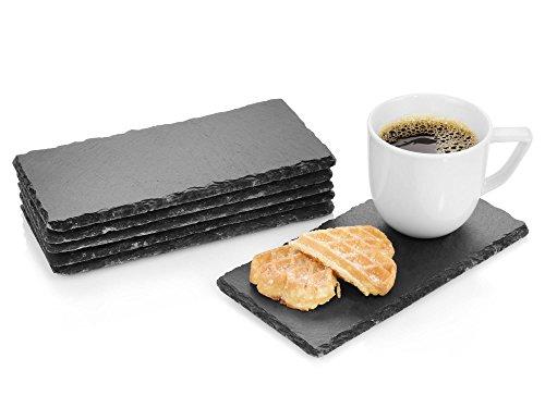 Sänger Schieferplatten Set Biscuit 6 teilig | 20x10 cm | Elegante Servierplatten aus Naturschiefer | Mit 4 Mossgummifüßen zum Schutz Ihrer Oberflächen | Perfekt um Gebäck zu Servieren