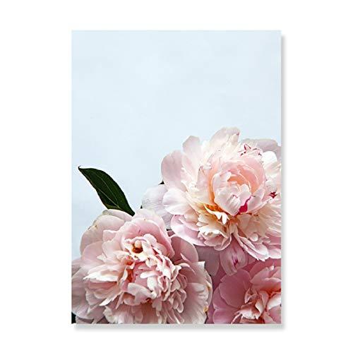XWArtpic Moderne Mode Rosa Pfingstrose Floral JA KÖNNEN SIE Zitate Leinwand Malerei Wandkunst Poster Drucke Bild Schlafzimmer Interior Home Decor A 30 * 40 cm