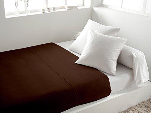 Soleil d'Ocre - 216805 - Drap Plat Coton 57 Fils Uni - 260 x 300 cm - Chocolat