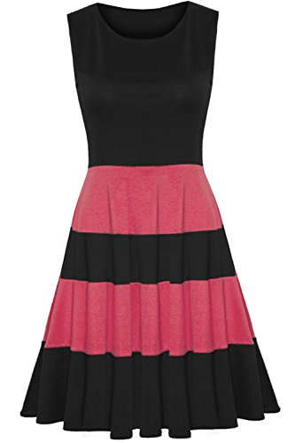 Ärmellos, Bunte Blöcke Streifen weites Midi Länge Kleid, Übergröße Schwarz/Korallenrot