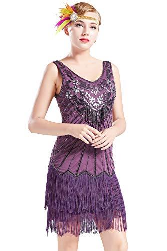 ArtiDeco Damen Kleid Retro 1920er Stil Flapper Kleider mit Zwei Schichten Troddel V Ausschnitt Great Gatsby Motto Party Kleider Damen Kostüm Kleid (Violett, S)