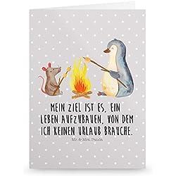 Mr. & Mrs. Panda Grußkarte Pinguin Lagerfeuer - Pinguin, Maus, Pinguine, Lagerfeuer, Leben, Arbeit, Job, Motivation, Büro, Büroalltag, Lebensspruch, Lebensmotivation, Neustart, Liebe, grillen, Feuer, Marshmallows Grusskarte, Klappkarte, Einladungskarte, Glückwunschkarte, Hochzeitskarte, Geburtstagskarte