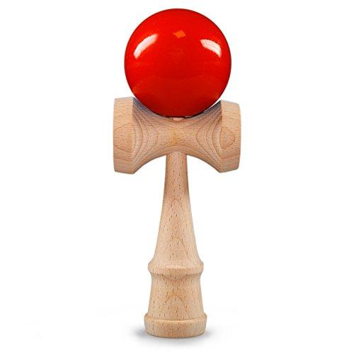 Ganzoo Kendama aus echtem Buchen-Holz, Original Japanisches traditionelles Holz-Spielzeug, Modell: rot, Kugel-Spiel, Geschicklichkeits-Spiel