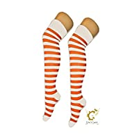 CRAZY CHICK New Ladies Girls Stripe Stripy Striped Over The Knee Thigh High Long Socks Assorted Colours UK Size 4-6