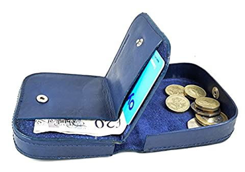 Quality Cow Calf Leather Coin Tray Purse Wallet with Card and Notes section (Blue)