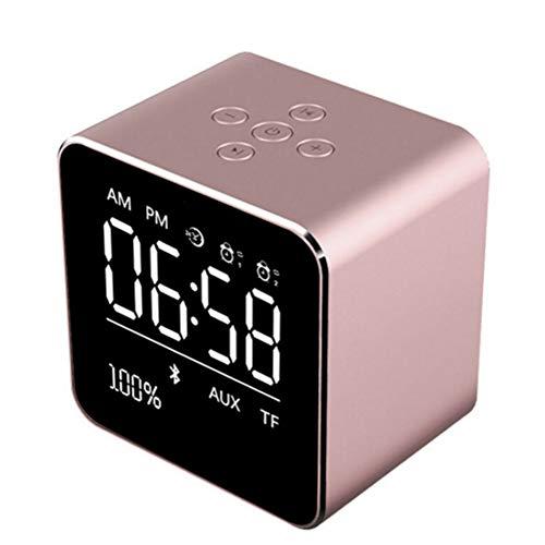 LZJZ Bluetooth Lautsprecher Wecker Radio LED Spiegel Desktop Metallgehäuse Schlafzimmer Home Schlafzimmer Doppel Wecker,Pink 1800 Mah Bat