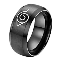 Anime Naruto Rings Simple Titanium Stainless Steel Fashion Rings A Couple Ring [BLACK,US 9]