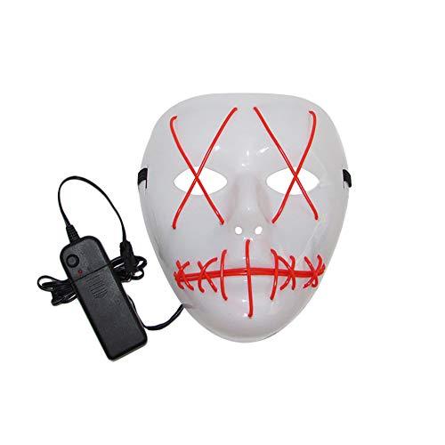 TREESTAR Halloween Maske LED Licht Leuchtende Linie Beleuchten Horror Scary Lustige Grimasse Teufel Party Cosplay Maske Kopfbedeckung füR Halloween, Karneval, Maskerade Party, Spannende Party size 18cm*17cm (Rot)