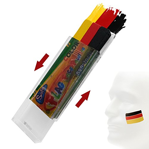 Taffstyle® Fanartikel Schminkstift Fan Make-Up Fanschminke mit Fussball Weltmeisterschaft WM & EM Europameisterschaft 2016 Länder Flaggen Style - Deutschland