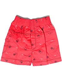 Krystle Boy's Red Printed Cotton Shorts for Kids