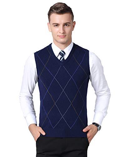 Homovater Herren West Ärmellose Pullunder Strickweste V-Ausschnitt Einfarbig Wollweste für Männer